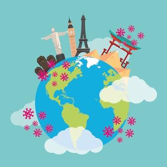 Covid19 partículas pandêmicas com planeta terra e monumentos de países
