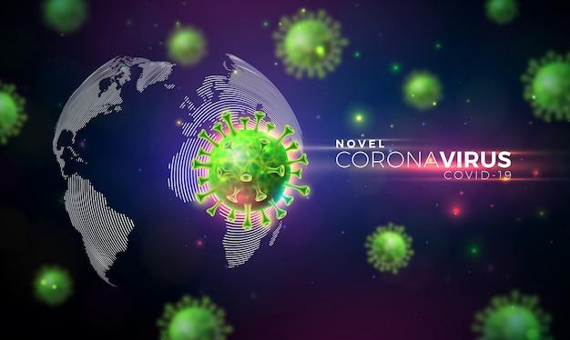 Covid19. projeto de surto de coronavírus com célula de vírus em vista microscópica no fundo do mapa mundo.