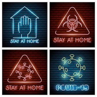Covid19 quatro conjunto de ícones de luzes