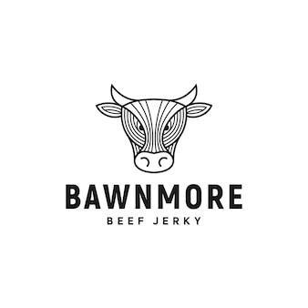 Cow head beef logotipo inspiração restaurante angus vector