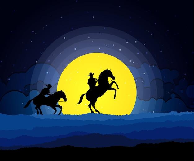 Cowboy americano com cavalo, paisagem noturna da lua do oeste selvagem