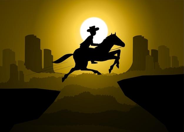 Cowboy americano com cavalo