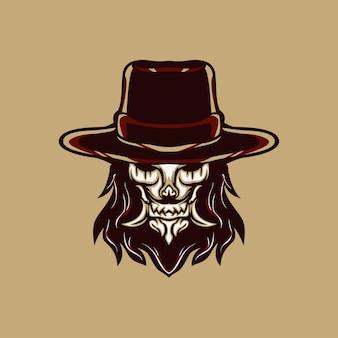 Cowboy assustador para mascote, logotipo ou outro