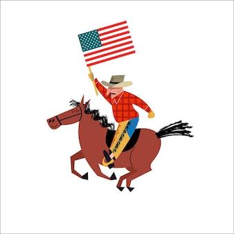 Cowboy cavalgando um cavalo com uma bandeira americana na mão.