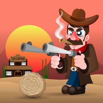 Cowboy com arma e chapéu ilustração vetorial