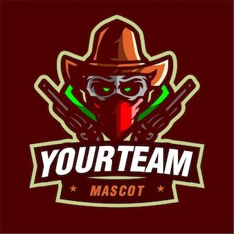 Cowboy com logotipo de jogo de mascote de arma