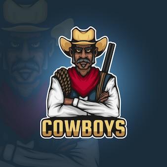 Cowboy com uma espingarda e um logotipo do mascote do esporte de corda