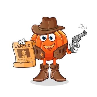 Cowboy de abóbora segurando arma e ilustração de cartaz de procurado