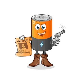 Cowboy de bateria segurando arma e ilustração de cartaz de procurado.