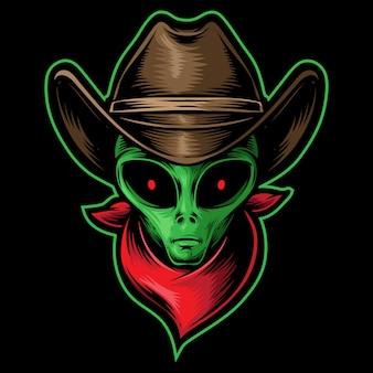 Cowboy de cabeça alienígena
