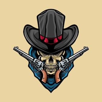 Cowboy de caveira com ilustração de arma