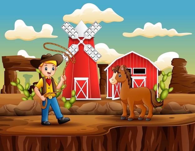 Cowboy de desenhos animados com um cavalo e laço