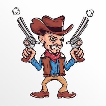 Cowboy de desenhos animados com uma ilustração vetorial de arma