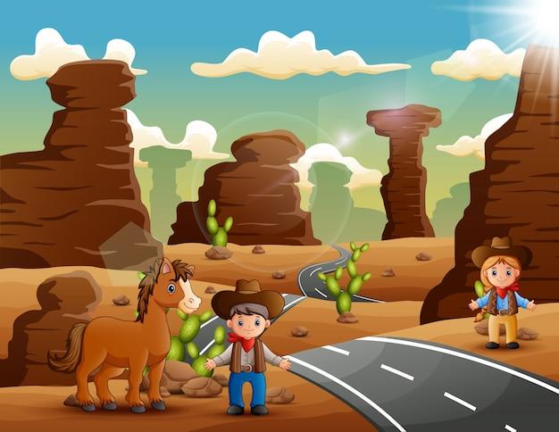 Cowboy de desenhos animados e cowgirl com animais na estrada do deserto