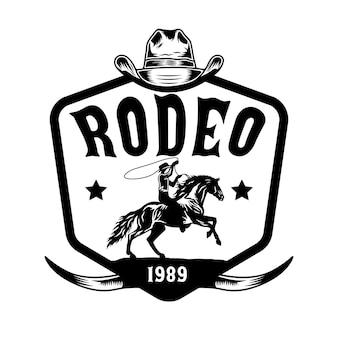 Cowboy de rodeio andando a cavalo desenhado à mão