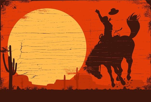 Cowboy de rodeio cavalgando cavalo selvagem vaqueiro de rodeio cavalgando cavalo selvagem