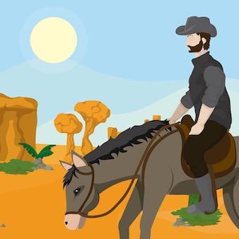 Cowboy e cavalo