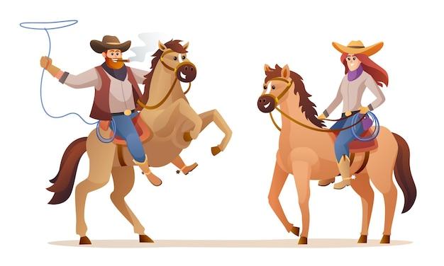Cowboy e cowgirl cavalgando personagens animais selvagens ilustração do conceito ocidental