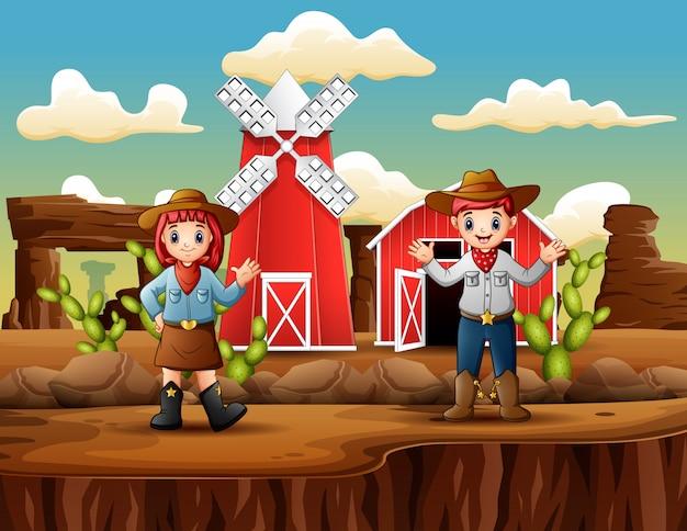 Cowboy e cowgirl na frente fazenda paisagem ocidental
