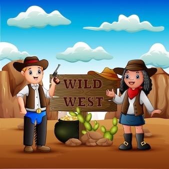 Cowboy e cowgirl no fundo do deserto rochoso