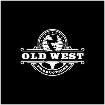 Cowboy e texas longhorn, design de logotipo vintage de gado bull ocidental