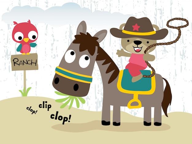 Cowboy engraçado, montando, cavalo, caricatura, com, coruja pequena