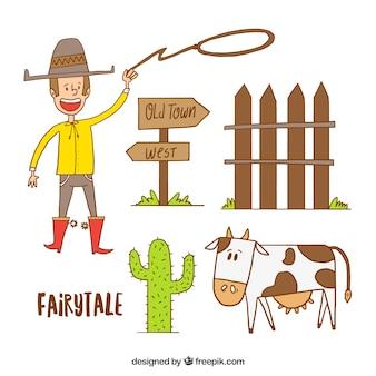 Cowboy esboços com elementos
