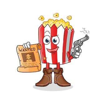 Cowboy mascote do desenho animado da pipoca segurando uma arma e um pôster de procurado
