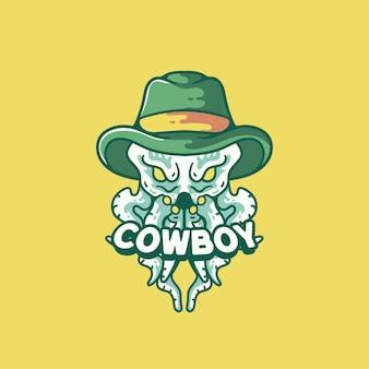 Cowboy octopus ilustração estilo vintage moderno para camiseta
