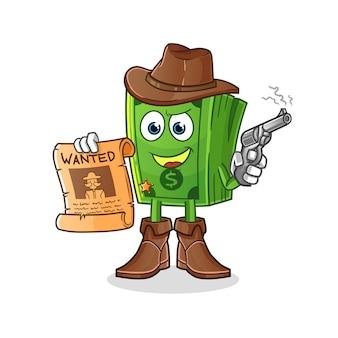 Cowboy pipoca segurando uma arma e ilustração de cartaz de procurado. personagem