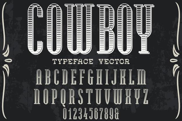 Cowboy retro do projeto da etiqueta da pia batismal