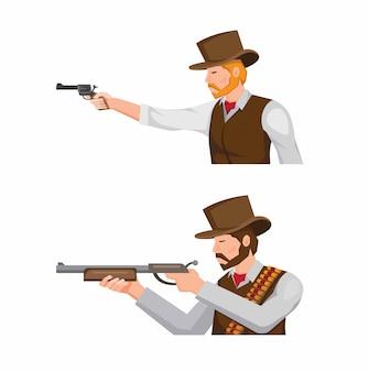 Cowboy segurando a arma e espingarda com o objetivo pronto para disparar coleção definida no vetor de ilustração dos desenhos animados