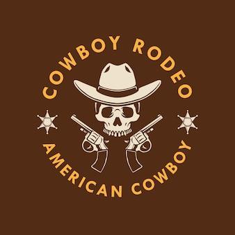 Cowboy skull com pistola de mão design de logotipo