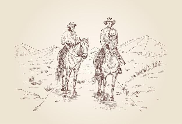 Cowboys andando a cavalo