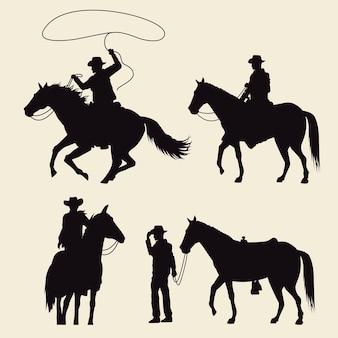 Cowboys com cavalos e silhuetas de animais