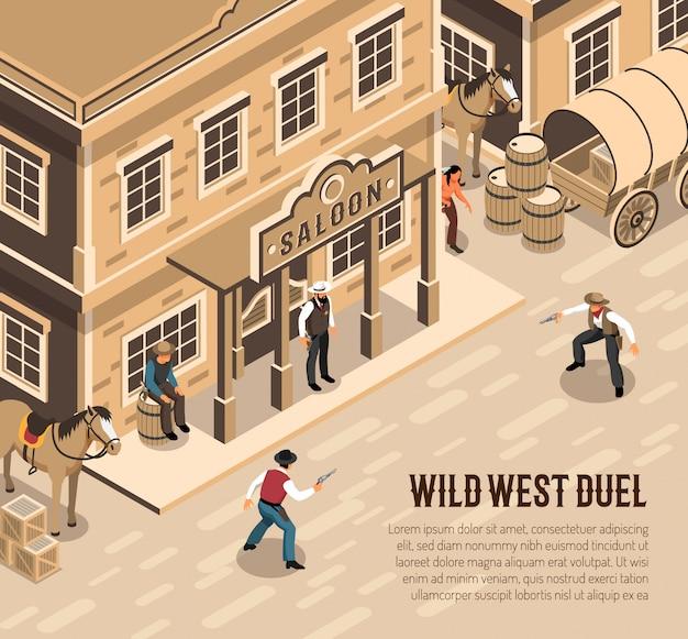 Cowboys do oeste selvagem com pistolas durante xerife de duelo perto da entrada do salão isométrica