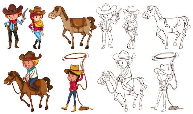 Cowboys e cavalos em cores e ilustração de linha