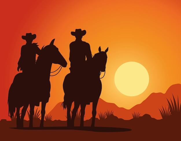 Cowboys figuram silhuetas em cena de paisagem de pôr do sol de personagens de cavalos