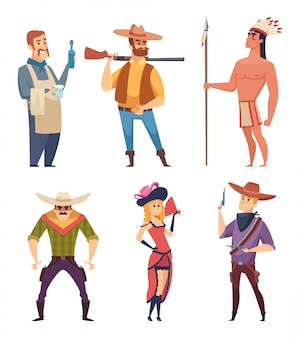Cowboys ocidentais. personagens de animais selvagens do país com cavalos vector cliparts de desenhos animados