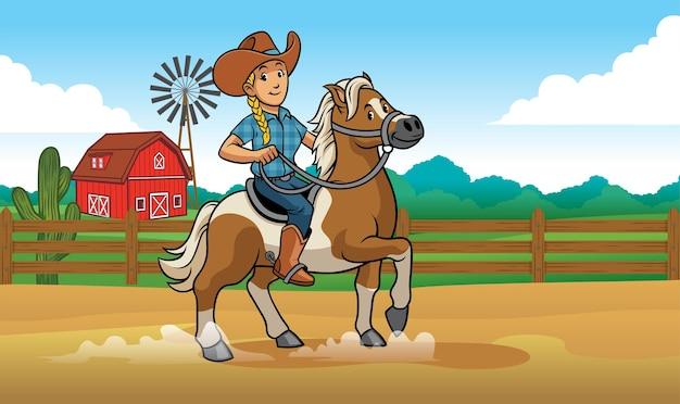 Cowgirl cavalgando no rancho