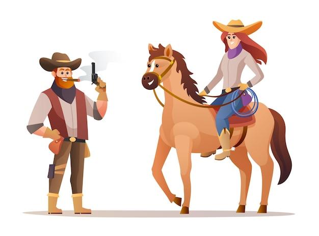 Cowgirl do oeste selvagem segurando armas e ilustração de personagens de vaqueira cavalgando