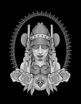 Cowgirl mexicano com ilustração de duas armas