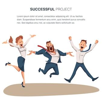 Coworking business team ir celebrando sucesso