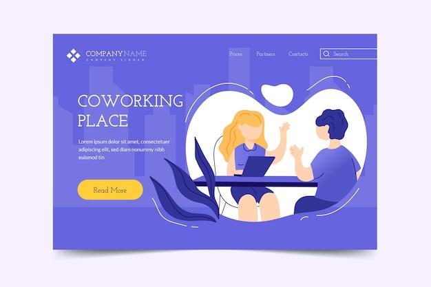 Coworking da página de destino desenhada à mão plana