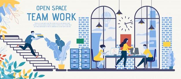 Coworking de espaço aberto para banner de anúncio de vetor de trabalho em equipe