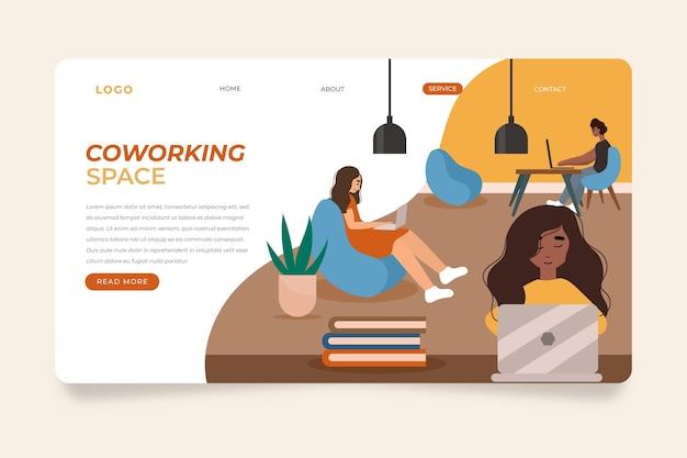 Coworking e colegas da página de destino desenhada à mão plana