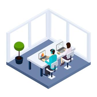 Coworking e ilustração de negócios