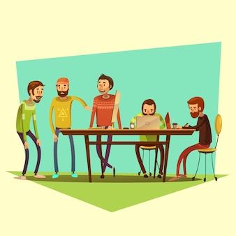 Coworking e pessoas com laptop e café na ilustração em vetor fundo amarelo dos desenhos animados
