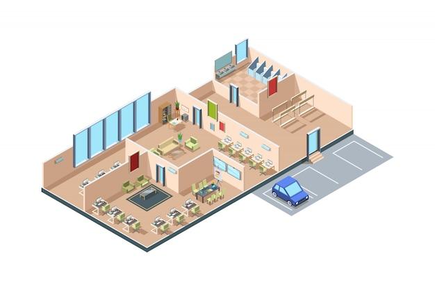 Coworking. loft de inicialização de zona moderno escritório de negócios de espaço aberto quartos criativos com interior isométrico de móveis