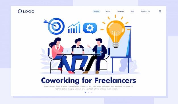 Coworking para freelancers ilustração do site da página de destino